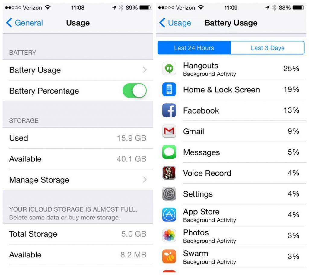 iOS 8 è un utile strumento per trovare app che consumano batteria sugli iphone: per ogni app riporta la percentuale di consumo