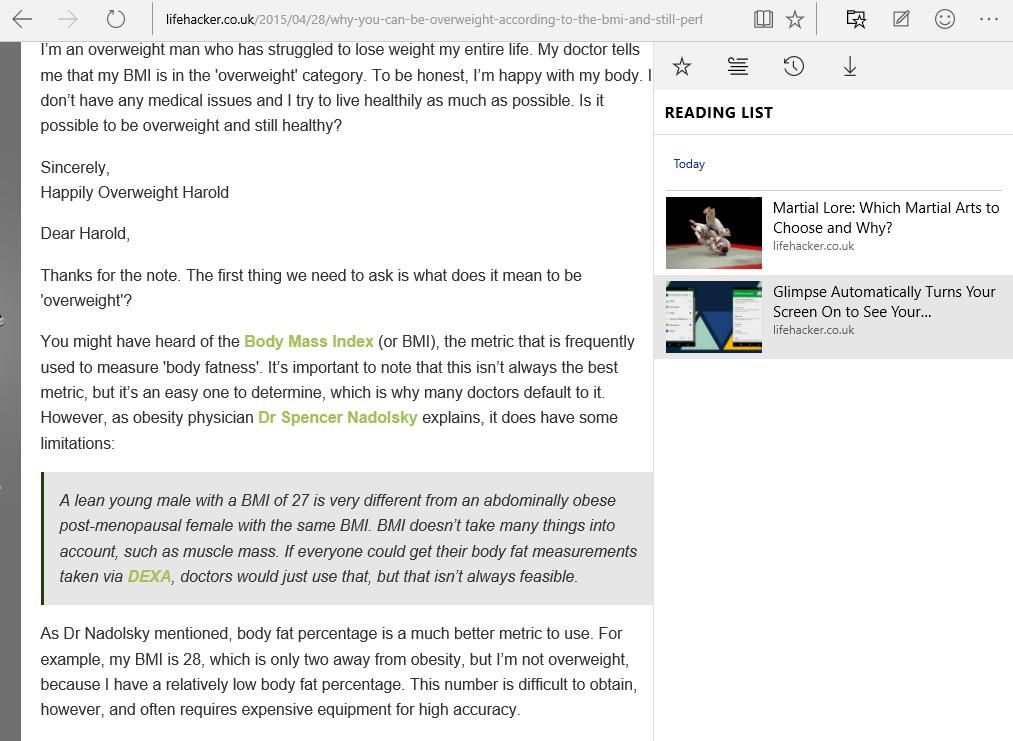 Come usare Microsoft Edge: con la funzione Modalità di lettura la pagina web viene riformattata mantenendo solo testi e immagini. L'Elenco Letture contiene le pagine che vogliamo salvare per leggerle in un secondo momento