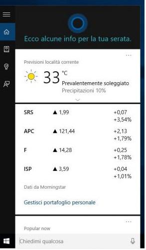 Come usare e personalizzare Cortana su Windows 10. A Cortana possiamo anche chiedere notizie sul meteo: ci fornirà temperature e previsioni del luogo in cui ci troviamo