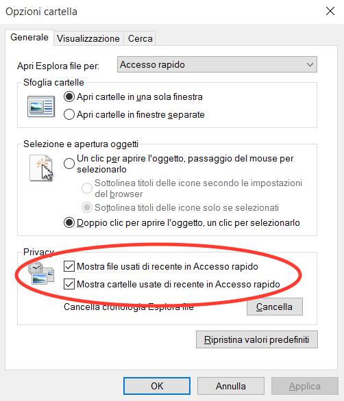 Come usare Accesso rapido Windows 10 - Eliminare vista file recenti o cartelle più utilizzate