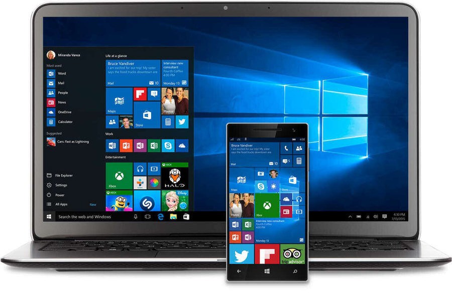 Windows 10: uno stesso sistema operativo per PC desktop, notebook, smartphone e tablet, tutti interconnessi fra loro.
