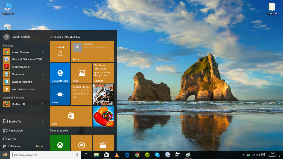 "Windows 10, il ritorno del pulsante ""Start"" affianca l'assistente vocale Cortana."