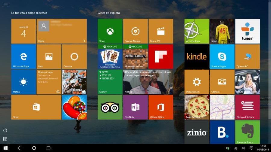 """Windows 10, la modalità Tablet offre un'interfaccia semplice e schematica grazie al ritorno dei """"tiles""""."""