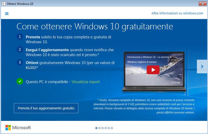 Installare Windows 10: la procedura guidata è quella più lenta e può richiedere settimane di attesa.