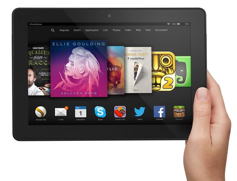 Tablet di Amazon: Fire Phone hd 8.9. Il lancio di un tablet low cost potrebbe essere la risposta ai risultati deludenti ottenuti con la vendita dell'Amazon Fire Phone
