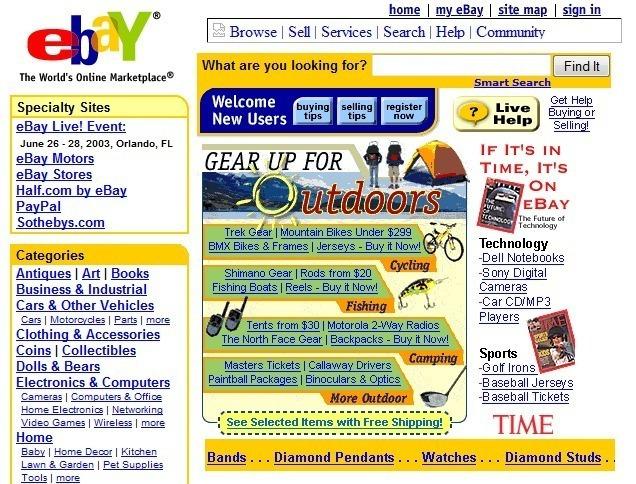 Storia e curiosità di eBay: l'home page nel 1997