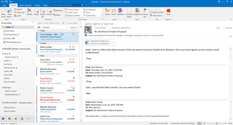 Office 2016, novità e funzioni. Le mail diventano parte integrante della suite, con filtri e sistemi di gestione avanzati.