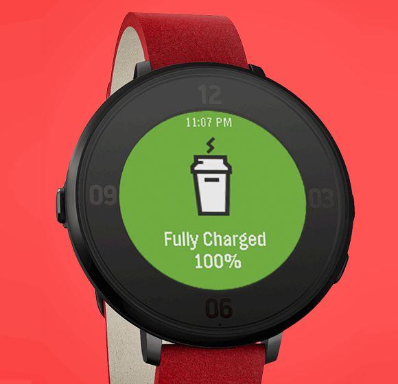 Pebble Time Round ha una batteria capace di garantire 48 ore di autonomia. Con la ricarica rapida, in soli 15 minuti si copre una giornata di utilizzo.