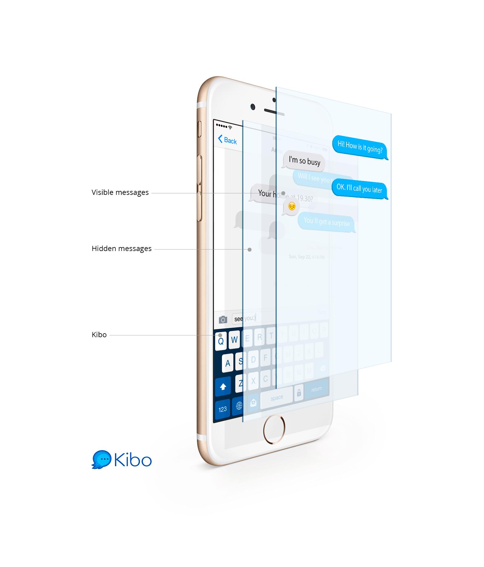 Kibo può essere utilizzato all'interno di qualsiasi app di messaggistica istantanea
