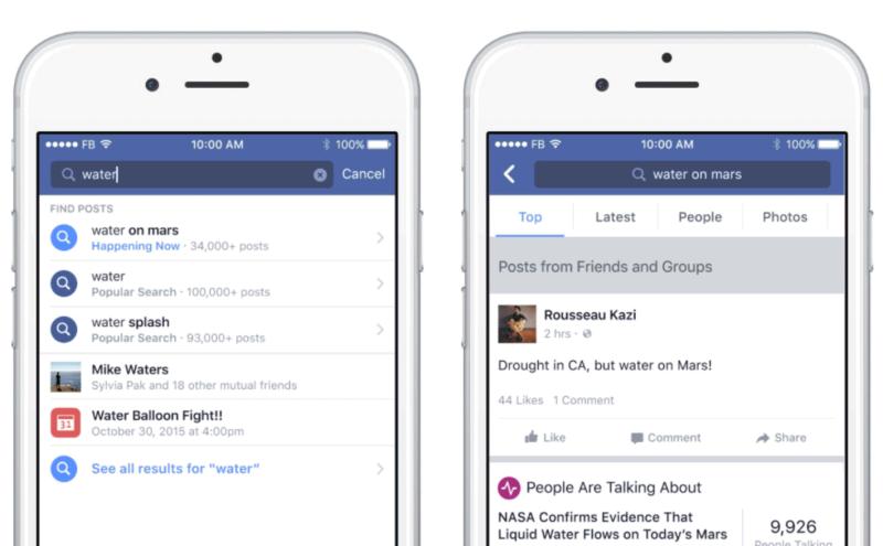 Facebook Search FYI mostra tutti i risultati suddivisi per persone, pagine, foto, ultimi contenuti postati e quelli più rilevanti.