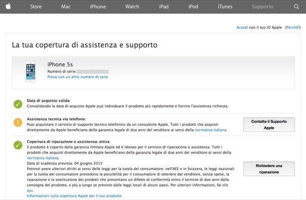 Garanzia iPhone: dal sito Apple è possibile consultare la sezione Supporto, inserire i dati del proprio iPhone e controllare lo stato della garanzia.