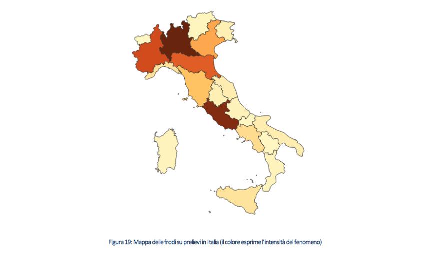 Le regioni con i colori più forti sono quelle più colpite dal fenomeno delle frodi su prelievi