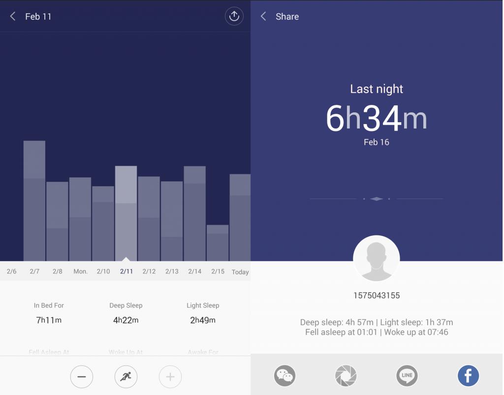 Xiaomi Mi Band. Il braccialetto fitness esegue un conteggio abbastanza preciso della attività notturna