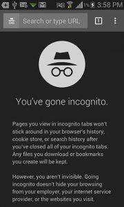 Navigazione in incognito su Chrome