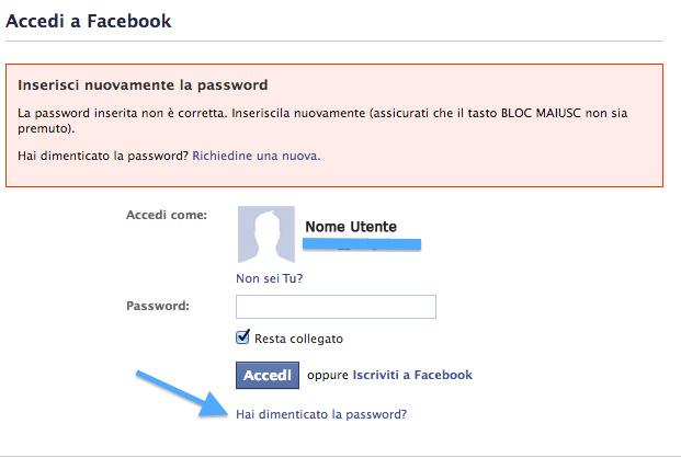 Profilo Facebook rubato - inserimento password (immagine esemplificativa resa anonima)