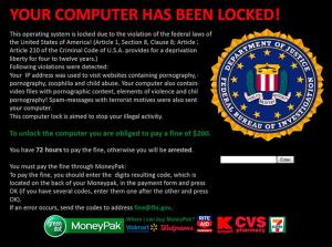 """Reveton ha inaugurato la stagione dello """"scareware"""", una serie di virus Ransomware progettati per essere scambiati da avvisi governativi o di forze di polizia, obbligando gli utenti a pagare per paura di ripercussioni legali."""