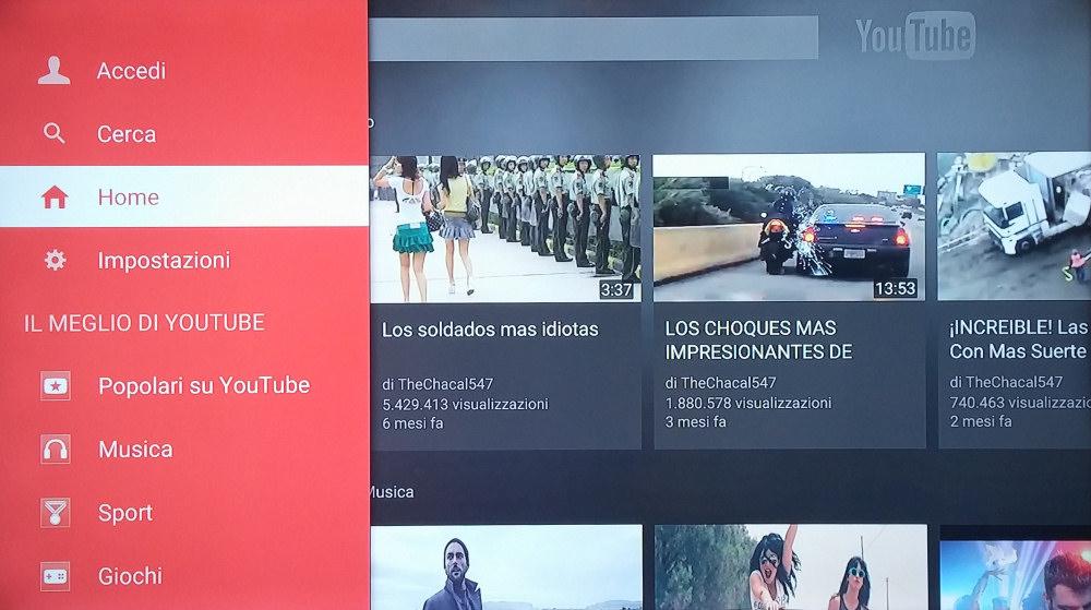 Il menù del Panasonic DMR-BWT745EC permettere di accedere a numerosi canali smart, come Youtube