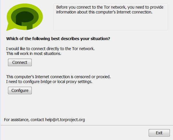 Tor Messenger Beta: per prima cosa, è necessario scegliere il tipo di connessione