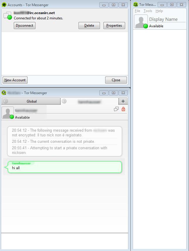 Tor Messenger Beta: la schermata principale