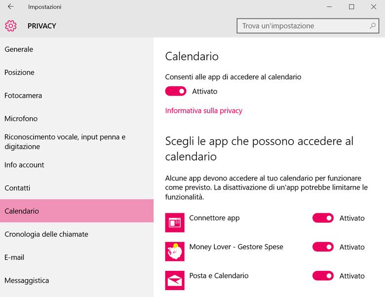 """Proteggere Windows 10: molte applicazioni sono solite """"curiosare"""" nel nostro calendario. Ecco come bloccarle."""