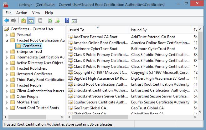 Si possono rimuovere i falsi certificati sul PC anche attraverso la console di gestione dei certificati presenti sul computer