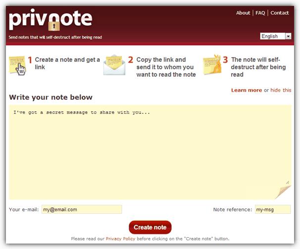 Privnote è un ottimo servizio gratuito che permette di inviare messaggi che si autodistruggono