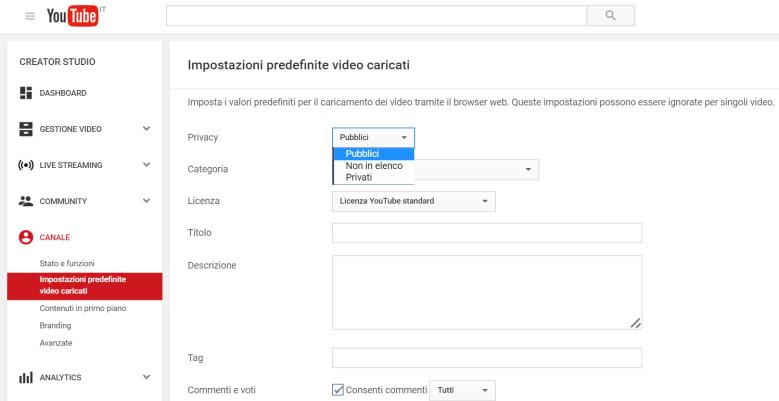 Proteggere un profilo YouTube: è possibile scegliere le opzioni predefinite, in modo da non doverle inserire manualmente ogni volta.