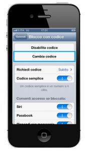 Impostazioni di sicurezza iOS: il codice numerico rappresenta la prima, importante barriera di sicurezza