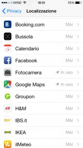 Impostazioni di sicurezza iOS: per evitare di comunicare ai server Apple e alle applicazioni la nostra posizione, è possibile disattivare la localizzazione