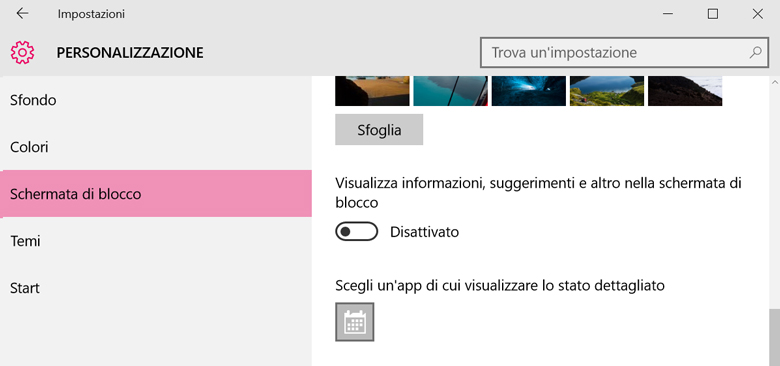 Per eliminare la pubblicità su Windows 10 è bene assicurarsi che tutte le voci relative alla schermata di blocco siano disabilitate