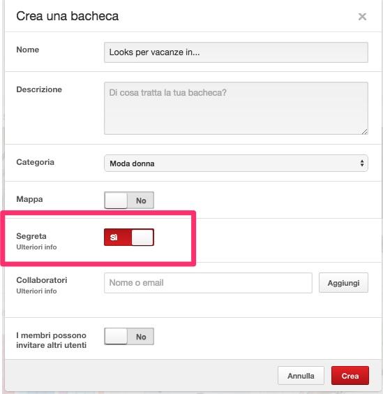 Privacy Pinterest: una bacheca segreta permette di archiviare pins in maniera anonima, senza mostrarli ad altri utenti