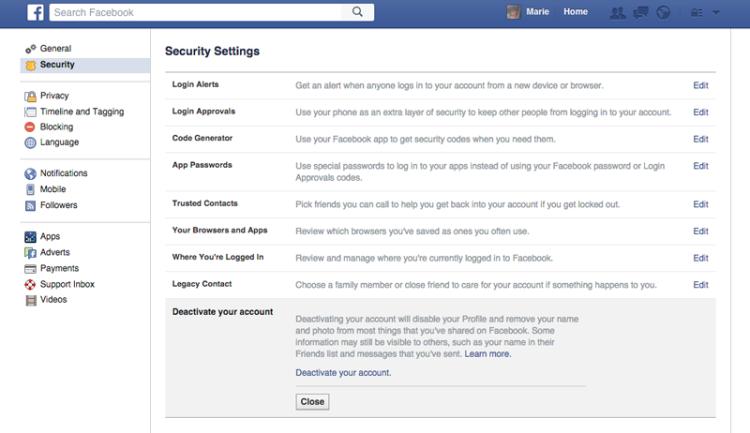 Cancellare account Facebook: il profilo può essere temporaneamente disabilitato dalle Impostazioni.