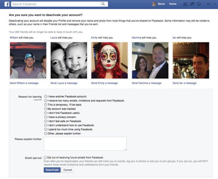 Cancellare account Facebook: prima della disabilitazione, Facebook cercherà di convincerci a restare e di motivare la nostra decisione.