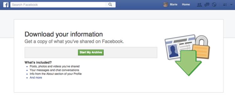 Cancellare account Facebook: il backup dei dati viene effettuato all'interno di un archivio, contenente tutta la nostra vita Social dall'apertura dell'account a oggi.