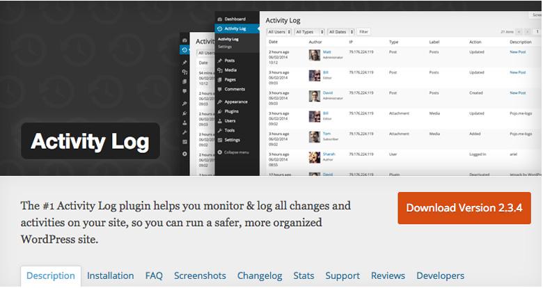 migliori plugin di sicurezza per WooCommerce Activity Log