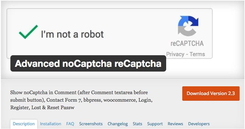 migliori plugin di sicurezza per WooCommerce Advanced noCaptcha reCaptcha