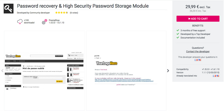 migliori plugin di sicurezza per PrestaShop Password Recovery& High Password Storage