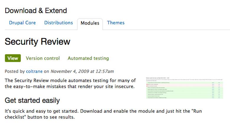plugin di sicurezza per Drupal security review