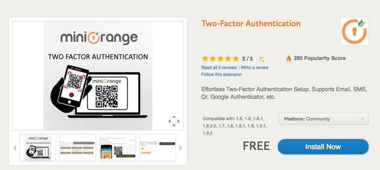 migliori plugin di sicurezza per Magento Two-Factor Authentication
