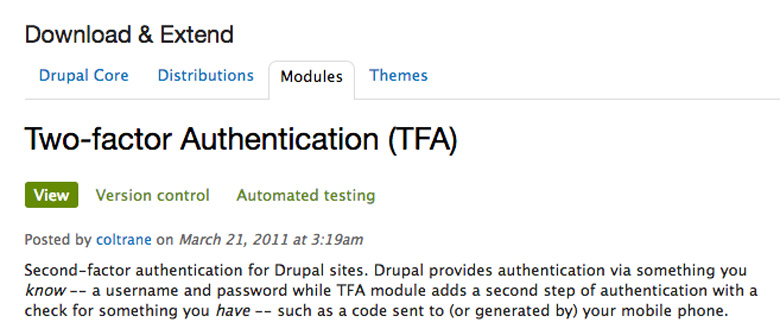 plugin di sicurezza per Drupal two factor authentication