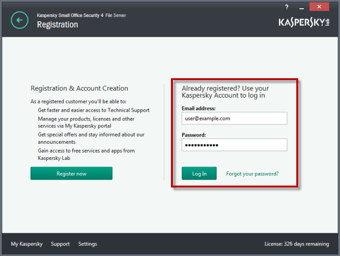 kaspersky small office security 4 recensione creazione account