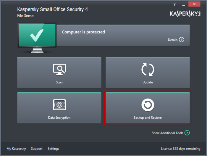 kaspersky small office security 4 funzione backup and restore