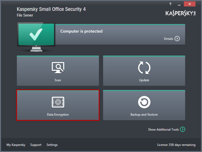 kaspersky small office security 4 recensione funzione data encryption