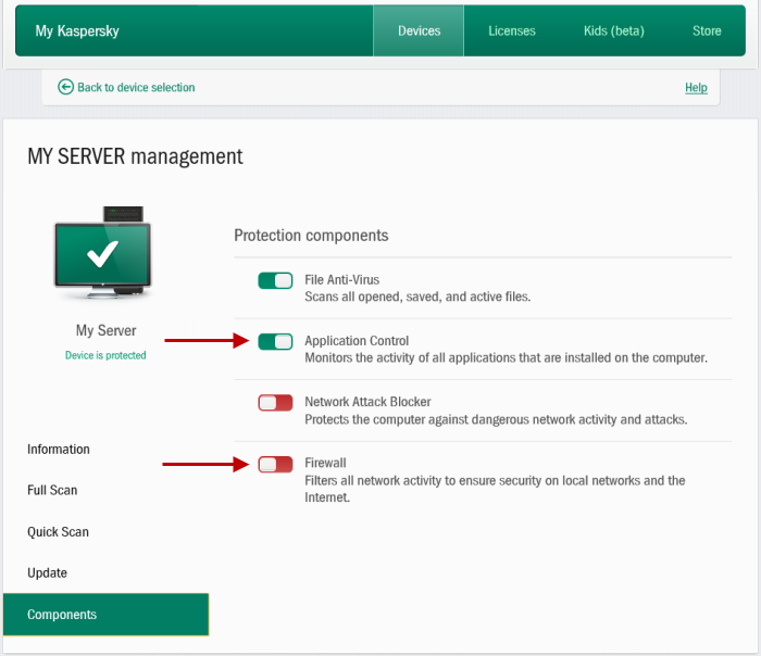 kaspersky small office security 4 monitoraggio device