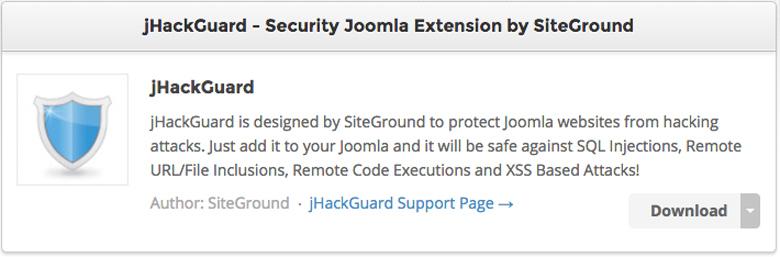 plugin di sicurezza per Joomla! JHack Guard