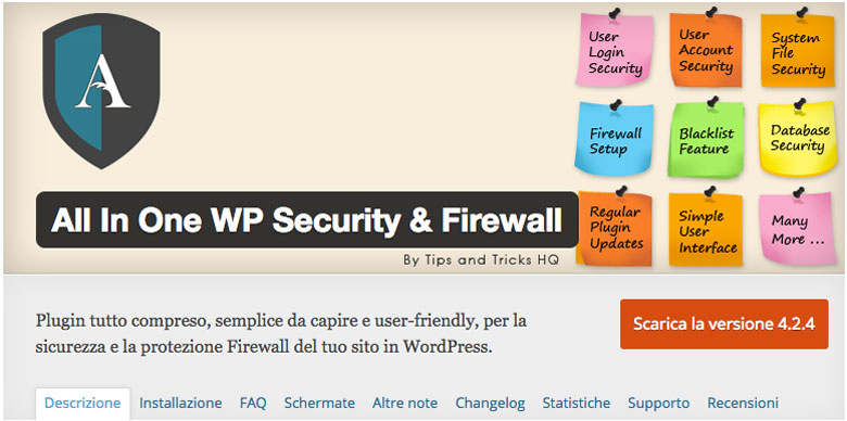 plugin di sicurezza per WordPress All in One WP Security e Firewall
