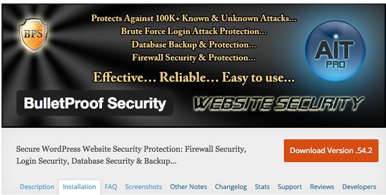 plugin di sicurezza per WordPress BulletProof Security