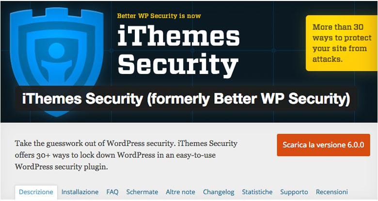 plugin di sicurezza per WordPress iThemes Security