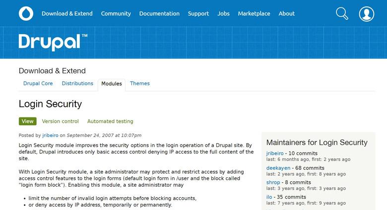 sicurezza del login di drupal e modulo login security