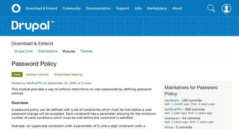 sicurezza del login di drupal e password policy